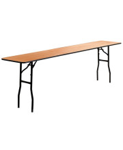 18'' x 96'' Rectangular Wood Folding Training / Seminar Table with Smooth Clear Coated Finished Top - YT-WTFT18X96-TBL-GG