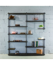 Nashville Industrial Mid-Century 64-Inch Wide Large Open Etagere 11-Shelf Pipe Bookcase Metal With Reclaimed Wood Finish - MOO1-BL/BL/BL