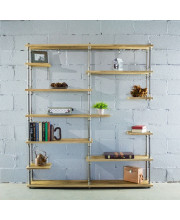 Nashville Industrial Mid-Century 64-Inch Wide Large Open Etagere 11-Shelf Pipe Bookcase Metal With Reclaimed Wood Finish - MOO1-BR/GR/NA