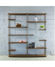 Nashville Industrial Mid-Century 64-Inch Wide Large Open Etagere 11-Shelf Pipe Bookcase Metal With Reclaimed Wood Finish - MOO1-BZ/BZ/BR