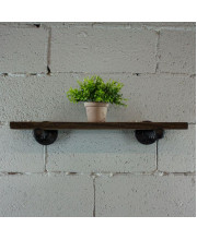 Somerville Industrial Vintage 24-inch Decorative Wall Mounted Single Pipe Shelf-Metal with reclaimed/aged Wood finish - SHLF1-BL/BL/BL