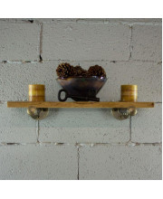 Somerville Industrial Vintage 24-inch Decorative Wall Mounted Single Pipe Shelf-Metal with reclaimed/aged Wood finish - SHLF1-BR/GR/NA