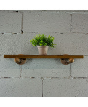 Somerville Industrial Vintage 24-inch Decorative Wall Mounted Single Pipe Shelf-Metal with Reclaimed-Aged Wood Finish - SHLF1-BZ/BZ/BR