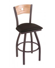 """XL 830 Voltaire 36"""" Bar Stool with Pewter Finish, Black Vinyl Seat, Natural Oak Back, and 360 swivel"""