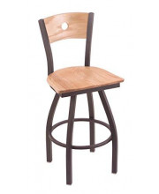"""XL 830 Voltaire 36"""" Bar Stool with Pewter Finish, Natural Oak Seat, Natural Oak Back, and 360 swivel"""