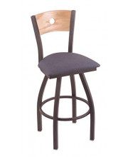 """XL 830 Voltaire 36"""" Bar Stool with Pewter Finish, Rein Bay Seat, Natural Oak Back, and 360 swivel"""