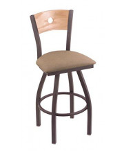 """XL 830 Voltaire 36"""" Bar Stool with Pewter Finish, Rein Thatch Seat, Natural Oak Back, and 360 swivel"""