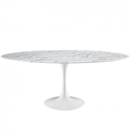 """Lippa 78"""" Oval Artificial Marble Dining Table - White"""