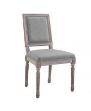 Court Vintage French Upholstered Fabric Dining Side Chair - Light Gray