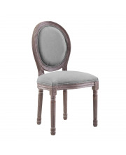 Emanate Vintage French Upholstered Fabric Dining Side Chair - Light Gray
