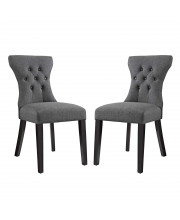 Silhouette Dining Side Chairs Upholstered Fabric Set of 2 - Gray