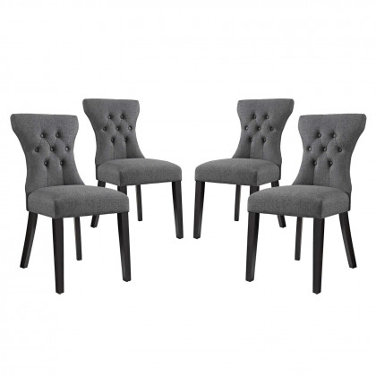 Silhouette Dining Side Chairs Upholstered Fabric Set of 4 - Gray