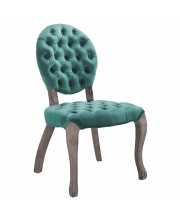 Exhibit French Vintage Dining Performance Velvet Side Chair - Teal