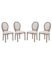 Emanate Dining Side Chair Upholstered Fabric Set of 4 - Beige