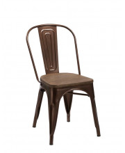 Modern Copper & Wood Dining Chair (Set of 4)