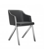 Modern Grey Leatherette Dining Chair (Set of 2)