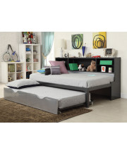 Twin Bed with Bookcase & Trundle, Black & Silver - Metal Tube, MDF w/Black P Black & Silver