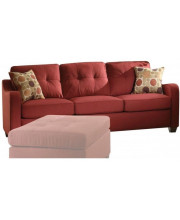 Sofa with 2 Pillows, Red Linen - Fabric, Frame:Solid Wood Red Linen