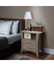 Nightstand, Rustic Natural - Particle Board, MDF Rustic Natural