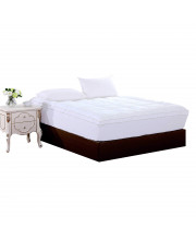 Square Quilted Accent Piping Mattress Pad - Fitted Mattress Covers Stretches up to 17 Inches Deep, Queen