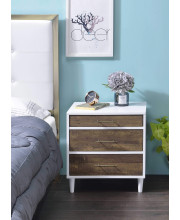 Nightstand In White And Weathered Oak - Metal, Melamine Paper, Rubber Wood, Mdf, Particle Board