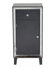 1-Drawer, 1-Door Tall Accent Cabinet W/ Antiqued Mirror Accents - Black