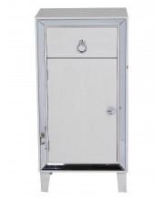 1-Drawer, 1-Door Tall Accent Cabinet W/ Mirror Accents - Antique White