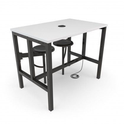 OFM Endure Series Standing Height Table, 2 Seats, White Dry-Erase Top with Dark Vein Backless Seats