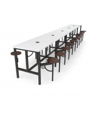 OFM Endure Series Model 9020-10S Standing Height 10 Seat Table, White Dry-Erase Top with Walnut Seats