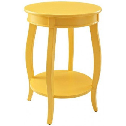 Yellow Round Table with Shelf