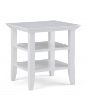 Acadian Solid Wood 19 inch wide Square End Table in White