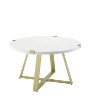 """30"""" Metal Wrap Coffee Table - White Faux Marble / Gold"""