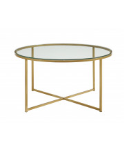 """36"""" Coffee Table with X-Base - Glass/Gold"""
