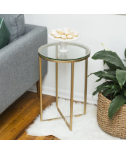 """16"""" Round Side Table - Glass/Gold"""