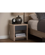 Baxton Studio Jamie Modern and Contemporary Two-Tone Oak and Grey Wood 1-Drawer 1-Shelf Nightstand