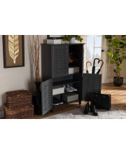 Baxton Studio Winda Modern and Contemporary Dark Gray 4-Door Wooden Entryway Shoe Storage Cabinet