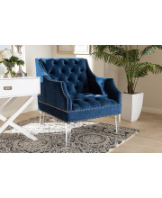 Baxton Studio Silvana Modern and Contemporary Navy Velvet Fabric Upholstered Lounge Chair with Acrylic Legs